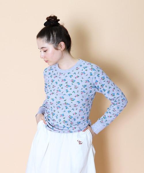 【HealthKnit/ヘルスニット】ベーシックワッフル花柄クルーネック長袖Tシャツ 608L SIP