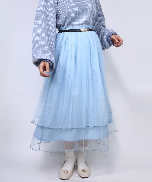 ParAvion(パラビオン)の「チュールメロースカート(スカート)」|ブルー