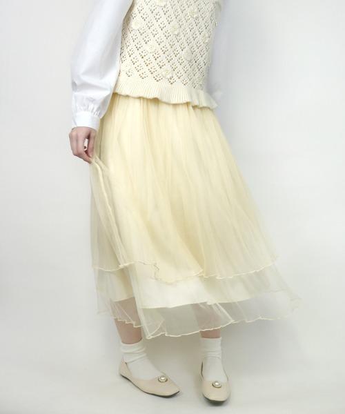 ParAvion(パラビオン)の「チュールメロースカート(スカート)」|アイボリー