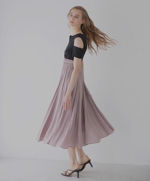 グレースカラーカービングドレス/ワンピース