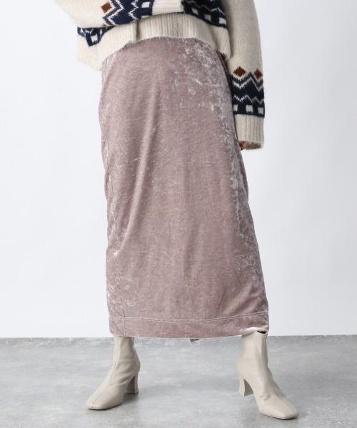 JEANASIS(ジーナシス)の「クラッシュベロアナロースカート/920088(スカート)」|ピンクベージュ