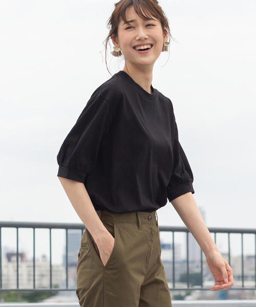 【新色ブラック登場】コットンパフスリーブカットソー
