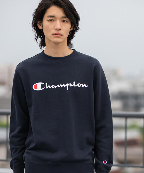 【女性にもオススメ】Champion(チャンピオン)ロゴプリントベーシッククルーネックスウェット(トレーナー)