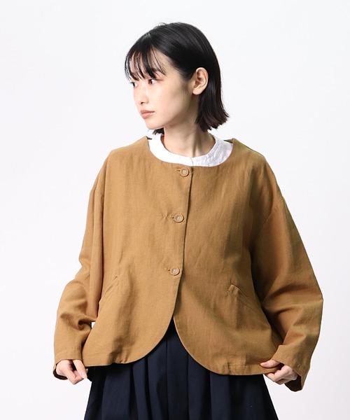 【 ubasoku / ウバソク 】丸衿クルミ釦六分丈ブルゾン ub-0102 BNT