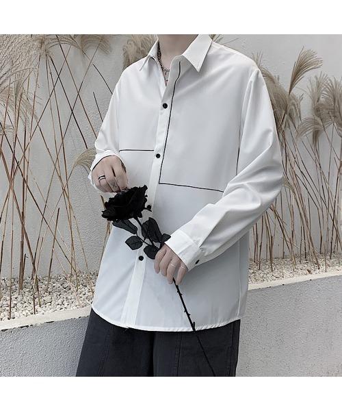 アシンメトリーシャツ ラインデザイン シャツ