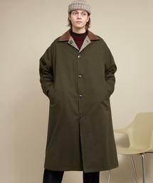 オーバーサイズ クレリックコーデュロイ リバーシブルロングバルカラーコート(ピーチスキン/千鳥格子) EMMA CLOTHES 2020AWカーキ