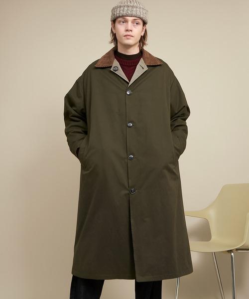 オーバーサイズ クレリックコーデュロイ リバーシブルロングバルカラーコート(ピーチスキン/千鳥格子) EMMA CLOTHES 2020-2021WINTER