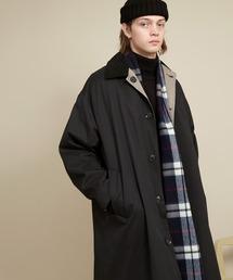 オーバーサイズ クレリックコーデュロイ リバーシブルロングバルカラーコート(ピーチスキン/千鳥格子) EMMA CLOTHES 2020AWブラック