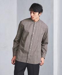 UASB フランネル チェック バンドカラー シャツ ◆