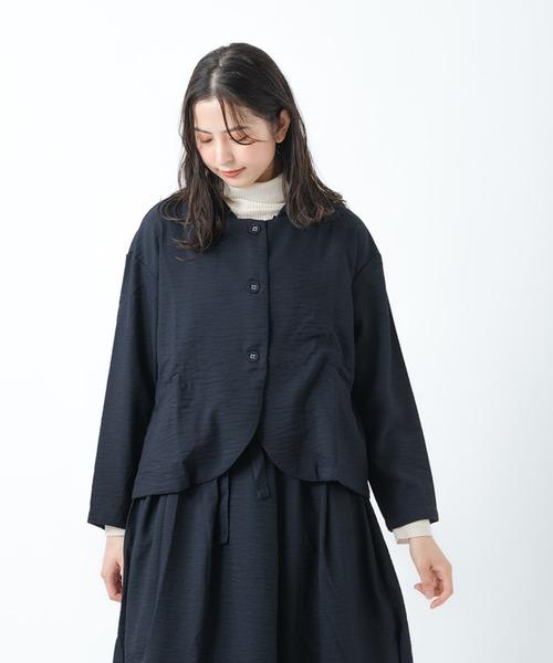 【 ubasoku / ウバソク 】丸衿クルミ釦6分丈ブルゾン ub-1100 BNT