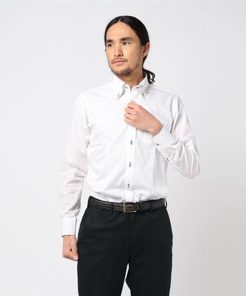 エムエフエディトリアルメンズ/m.f.editorial:Men 形態安定 白無地ストライプ柄ボタンダウンパイピングビジネスドレス長袖シャツ