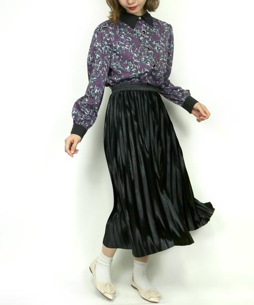 Clice de Paris(クリシェドゥパリス)の「K/サテンプリーツスカート(スカート)」|ブラック