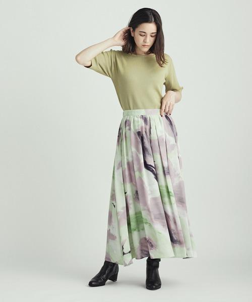 ぼかし柄フレアスカート