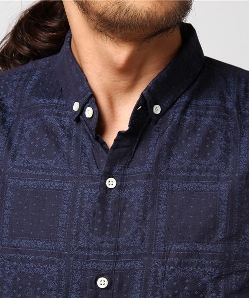 花柄ジャガードボタンダウンシャツ