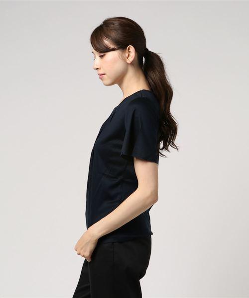 エムエフエディトリアルレディース/m.f.editorial:Women テンセルビジューフレアスリーブプルオーバー半袖Tシャツ (ネイビー)【COOLBIZ:クールビズおすすめアイテム】
