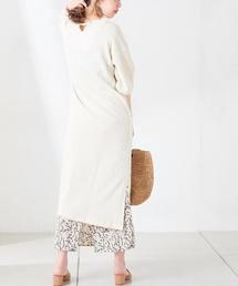 natural couture(ナチュラルクチュール)のワッフルシンプルワンピース(ワンピース)