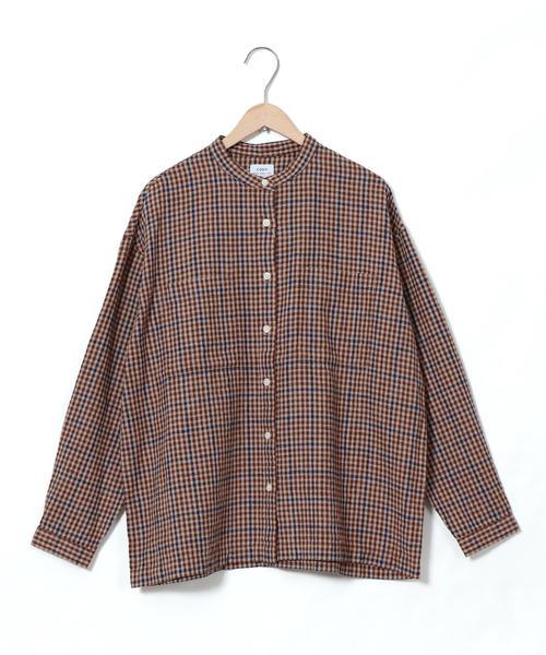 ウィンターリネンバンドカラーシャツ