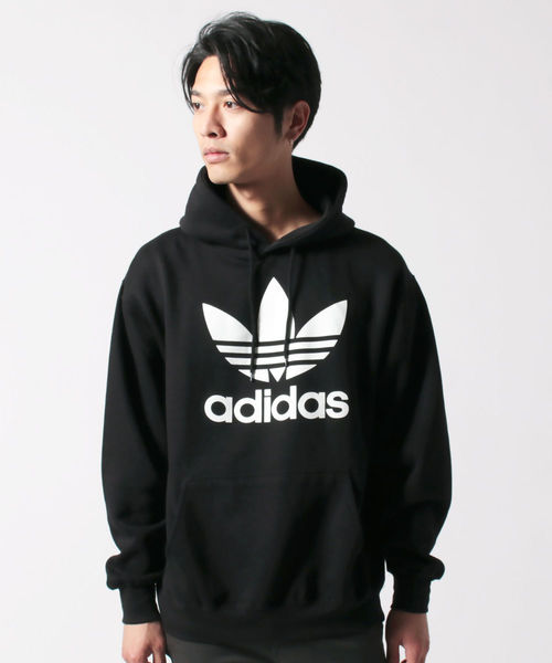 adidas(アディダス)の「adidas アディダス TREFOIL HOODIE トレフォイル フーディ プルオーバー パーカー(パーカー)」|ブラック