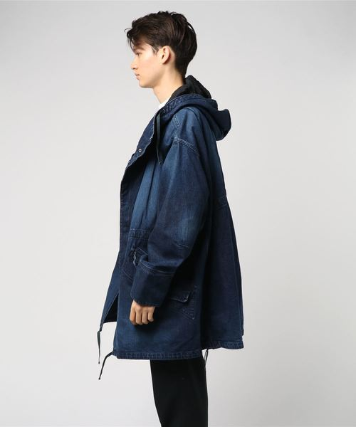 Denim over size military coat