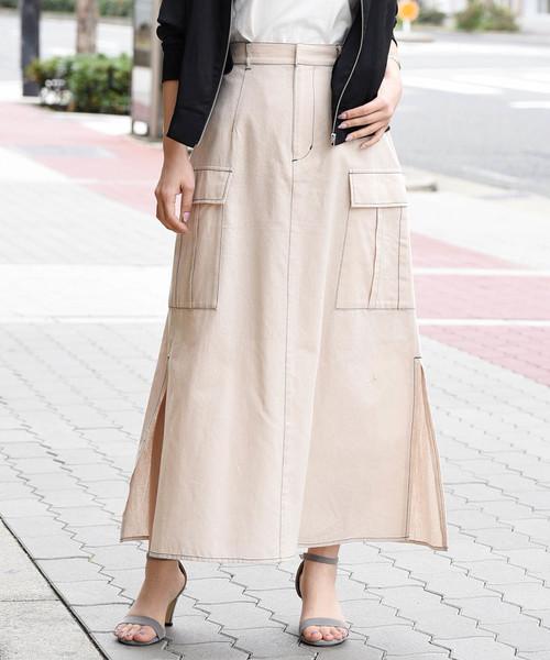 配色ステッチサイドポケットスリットスカート〈ソフトリネンコットン〉