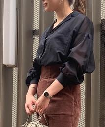 ROPE' mademoiselle(ロペマドモアゼル)の【2WAY】ボリューム袖シアーシャツブラウス(シャツ/ブラウス)