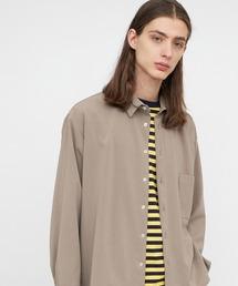 ブライトポプリンリラックススクエア レギュラーカラー シャツ(長袖)ベージュ