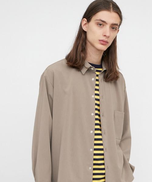 ブライトポプリンリラックススクエア レギュラーカラー シャツ(長袖)