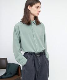 ブライトポプリンリラックススクエア レギュラーカラー シャツ(長袖)グリーン系その他