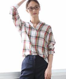 コットンテンセルバンドカラーチェックシャツ
