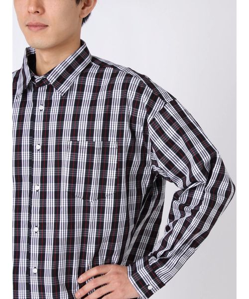 チェックワイドレギュラーカラーシャツ