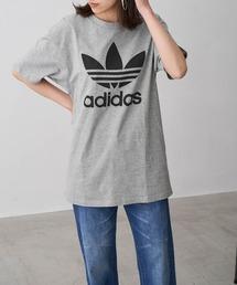 adidas/アディダス トレフォイルロゴプリント オーバーサイズ コットン 半袖 Tシャツグレー