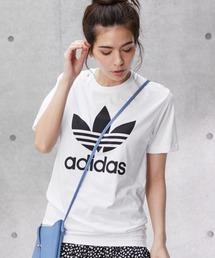adidas/アディダス トレフォイルロゴプリント オーバーサイズ コットン 半袖 Tシャツホワイト