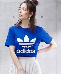 adidas/アディダス トレフォイルロゴプリント オーバーサイズ コットン 半袖 Tシャツブルー