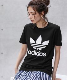 adidas/アディダス トレフォイルロゴプリント オーバーサイズ コットン 半袖 Tシャツブラック