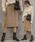 select MOCA(セレクトモカ)の「2WAYアシンメトリーニットスカート(畦編み×リブ編み切り替えデザインミディアム丈タイトスカート)(スカート)」|ベージュ