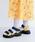 merlot(メルロー)の「カラーブロック厚底スポーツサンダル081-9015(サンダル)」|イエロー