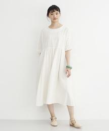 merlot(メルロー)のインド綿フリル袖ワンピース079-7089(ワンピース)