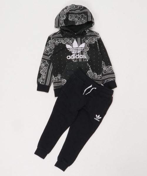 adidas(アディダス)の「バンダナ フーディー セットアップ [BANDANA HOODIE SET] アディダスオリジナルス(ジャージ)」|ブラック×ホワイト
