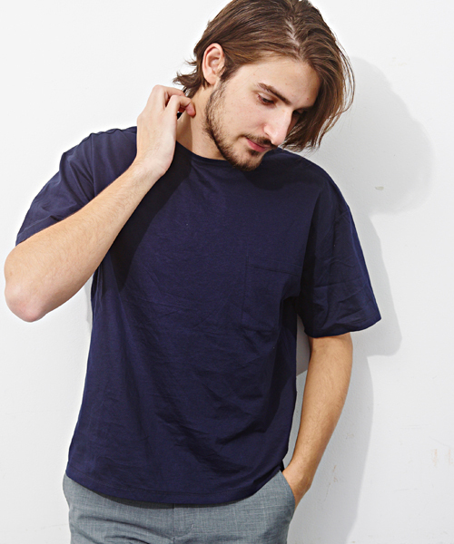 MORGAN HOMME(モルガンオム)の「ペーパーライクTシャツ (Tシャツ/カットソー)」|ネイビー