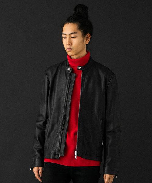 UNITED TOKYO(ユナイテッドトウキョウ)の「ビンテージベジタブルシングルライダース(ライダースジャケット)」|ブラック