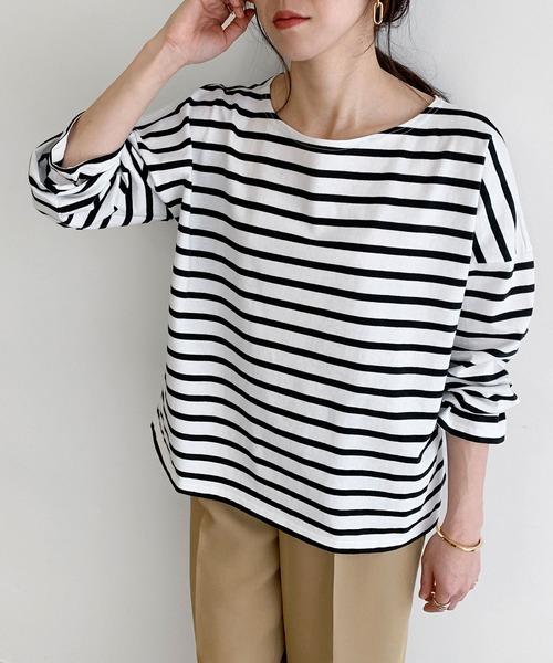 Le Minor(ルミノア)の「【WEB限定】【LE MINOR / ルミノア】Aラインカットソー(Tシャツ/カットソー)」|ブラック
