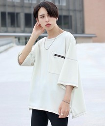 ファッションインフルエンサー ろむし × BASQUE magenta ステッチビックTee 半袖ホワイト