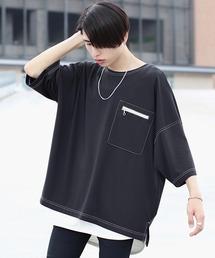 ファッションインフルエンサー ろむし × BASQUE magenta ステッチビックTee 半袖ブラック