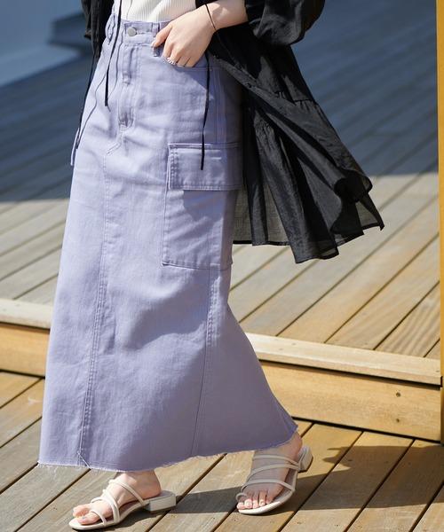 <オソロ>USコットンデニムカーゴナロースカート