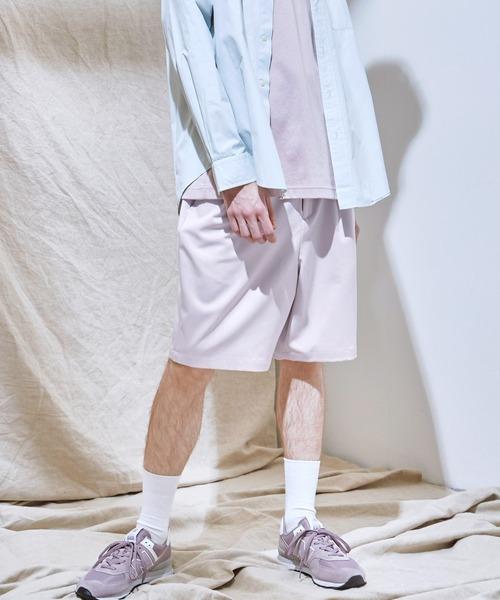 TRストレッチスーツ地 ワイドシルエット2タックショーツ ショートパンツ EMMA CLOTHES 2021SUMMER