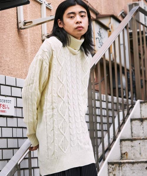 【BASQUE -enthusiastic design-】ビッグシルエット タートルネック フィッシャーマン ケーブル編み ニット セーター