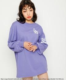 【MLB】スリーブロゴBIGシルエットTシャツパープル