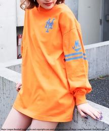 【MLB】スリーブロゴBIGシルエットTシャツオレンジ