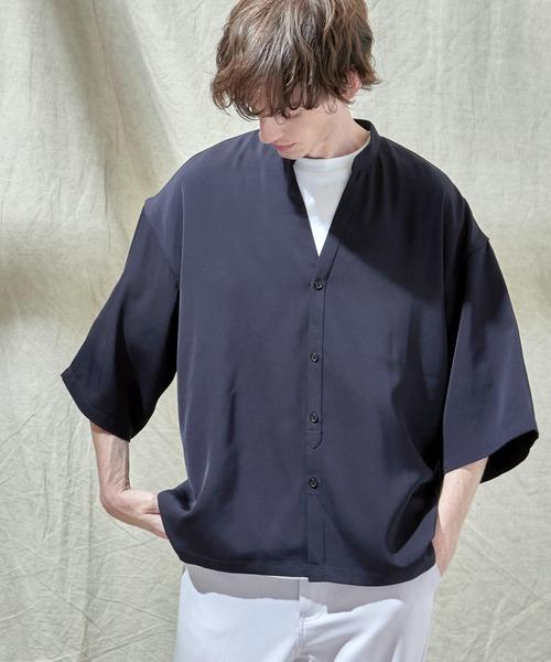 トロミオーバーサイズドルマン VネックスキッパーS/Sシャツ フハクカーディガン EMMA CLOTHES 2021SUMMER