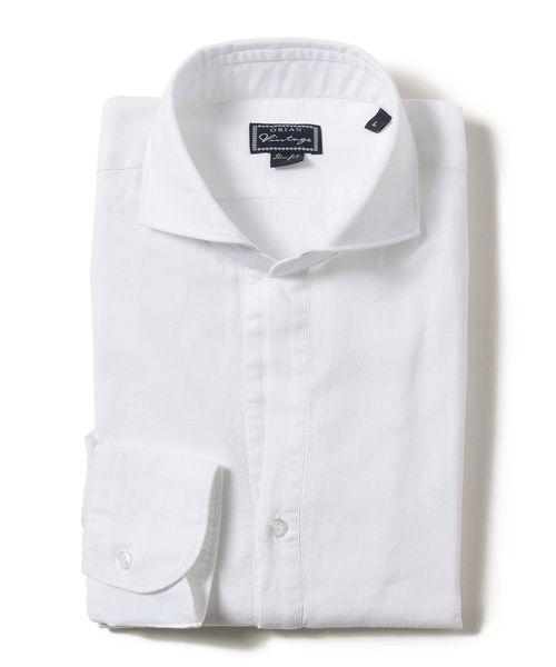 ◎ORIAN / Vintage リネンコットン ソリッド プルオーバーシャツ
